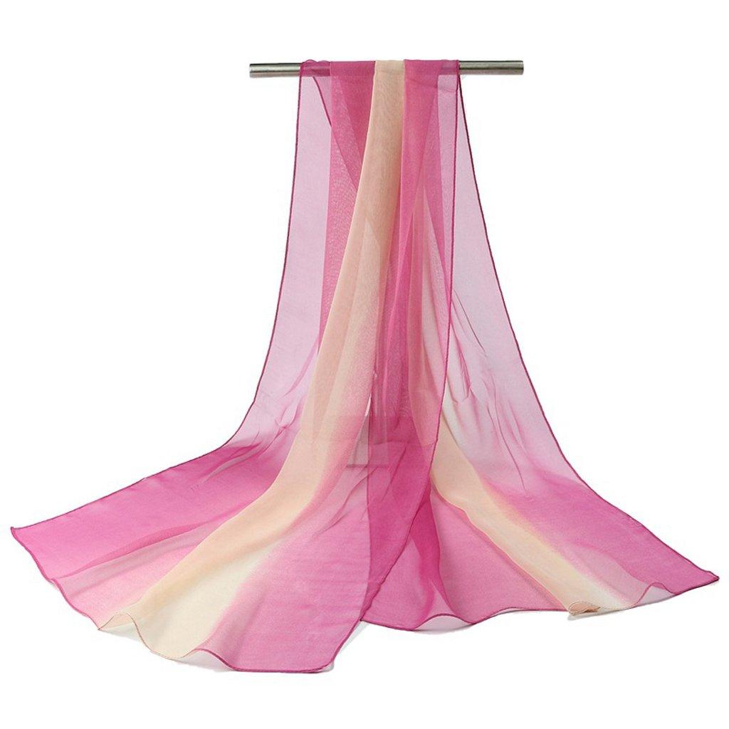 Xuniu Sciarpe Lunghe Moda Donna Colore sfumato Colore Lungo Scialle Chiffon Morbido Avvolgere Sciarpe Moda Viola