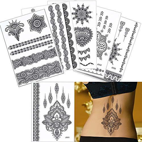 6 Sheets Black Temporary Tattoo Sticker Women Jewelry Chain Pendant DIY Body Art for cheap