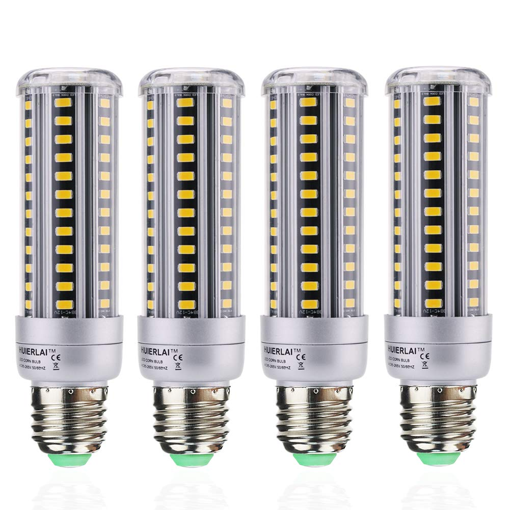 HUIERLAI 4-Pack 15W Super Bright LED Corn Light Bulb ,Residential and Commercial Projec E26/E27 (Replacement Incandescent Bulbs 120W ) 1360 Lumens AC85-265V Warm White(3000K) No-Dimmable.