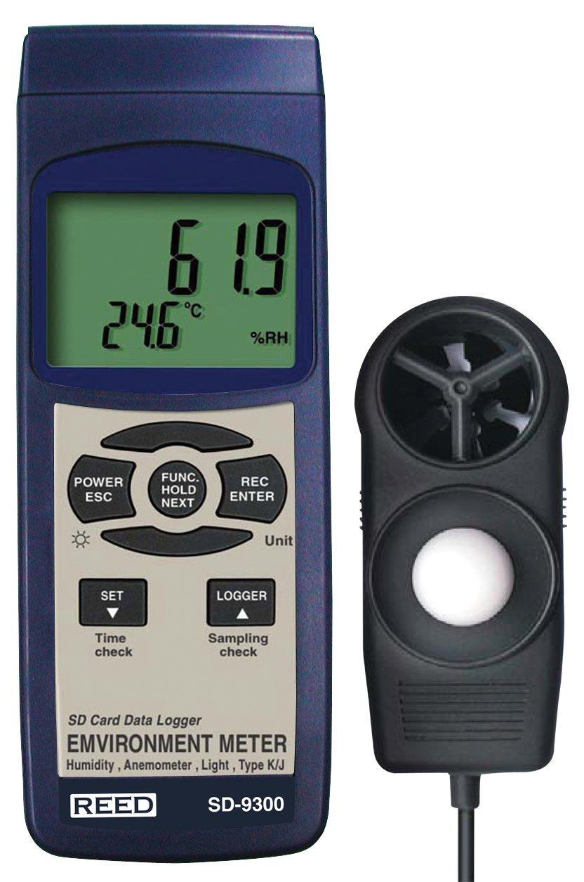 REED Instruments SD-9300 SD Series Environmental Meter, Datalogger (Air Velocity/Temp, Light, Ambient Temperature, Humidity)