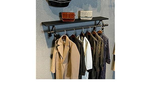 ALUK-Coat rack Perchero de Hierro Perchero de Madera Negro ...