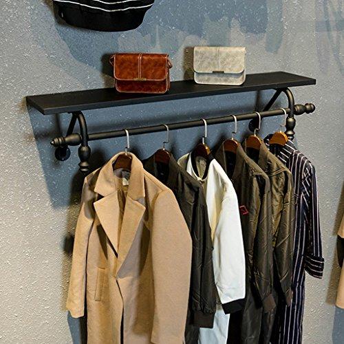 (Iron Coat Rack Black Wooden Shelf Wall Hanging Decoration Double Hanger Living Room Bedroom Hallway Hanger (80 cm, 100 cm, 120 cm) -Coat Rack/Coat Hook (Size : 80cm))