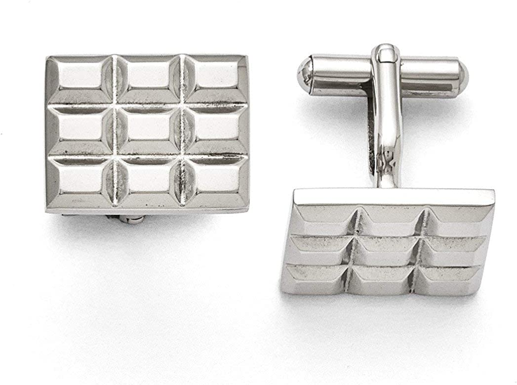 Stainless Steel Polished//Brushed and Enameled Oval Cufflinks