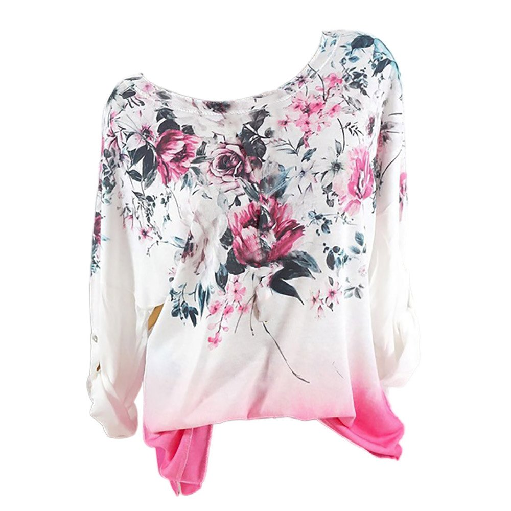 AMOFINY New Women Chiffon Floral Print Blouse Pullover Top T Shirt Tee Plus Size