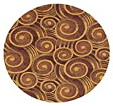 Wound Up Swirl Rust Orange - 12' ROUND Custom Stainmaster Premium Nylon Carpet Area Rug ~ Bound Finished Edges