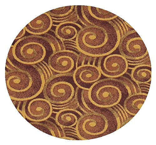 Wound Up Swirl Rust Orange - 12' ROUND Custom Stainmaster Premium Nylon Carpet Area Rug ~ Bound Finished Edges by Children's Choice