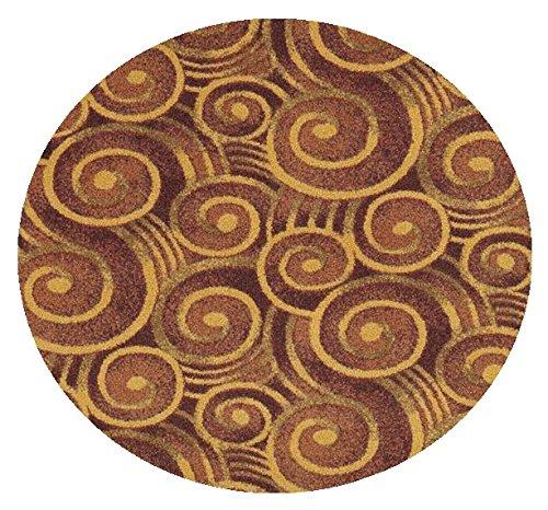 Wound Up Swirl Rust Orange - 12' ROUND Custom Stainmaster Premium Nylon Carpet Area Rug ~ Bound Finished Edges by Children's Choice
