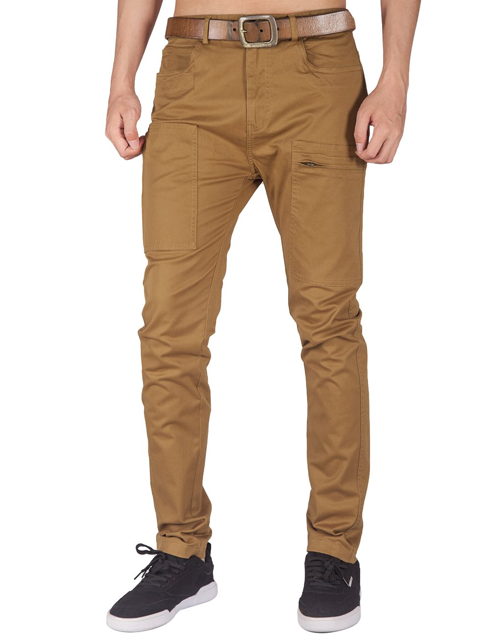 ITALY MORN Men's Flat Front Chino Pant Multi Pockets (Brown, L)