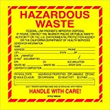 BOX USA BDL7510 Tape Logic Labels,Hazardous Waste - California, 6'' x 6'', Red/Yellow/Black (Pack of 500)