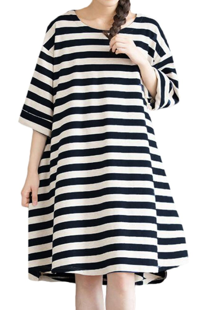 Mordenmiss Women's Daily Pullover Stripes Loose Dresses (XL, Black)