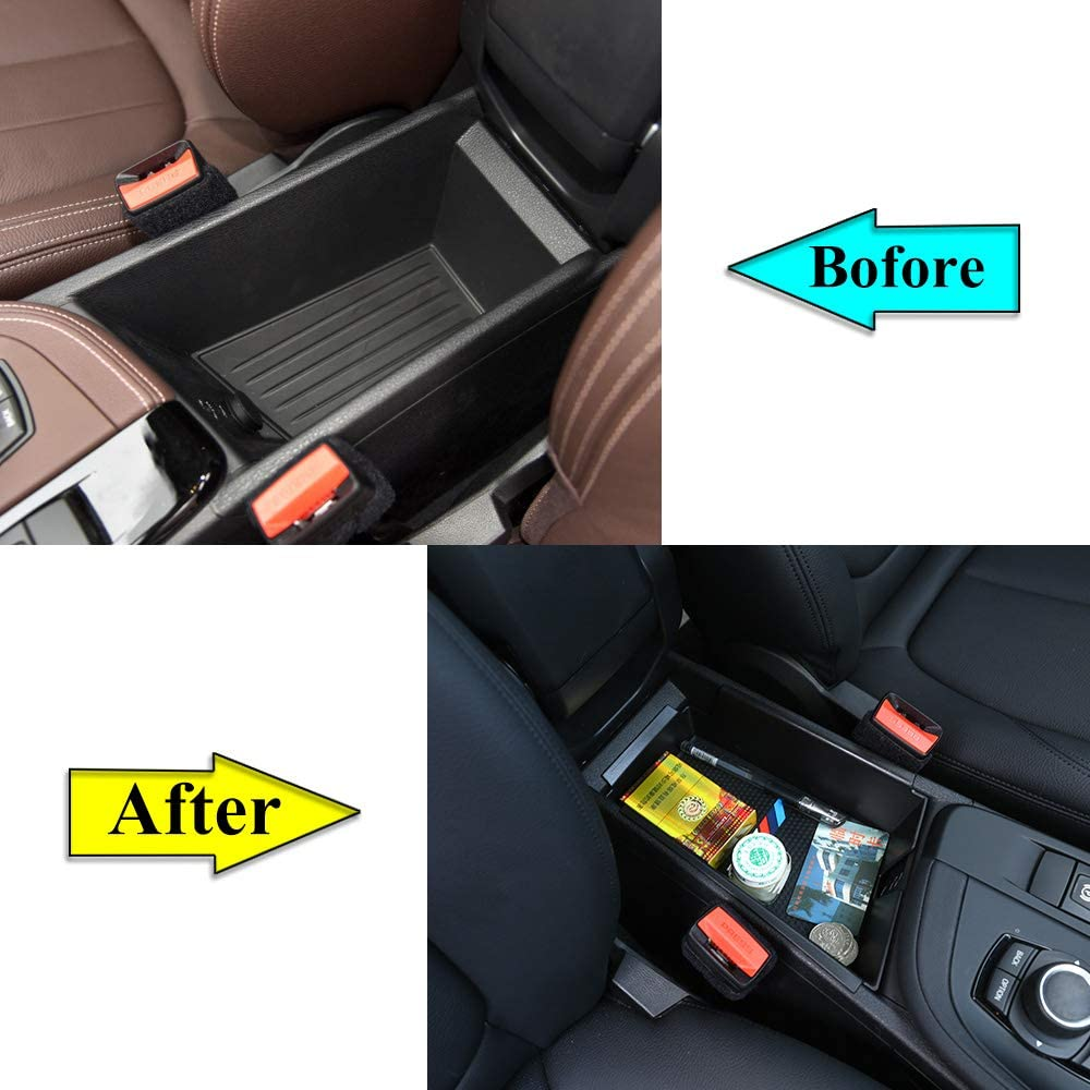YIWANG ABS Plastic Armrest Storage Box Glove Phone Tray for BMW X1 F48 2016-2019,for BMW X2 F47 2018 2019 Car Accessories for Left Hand Driver