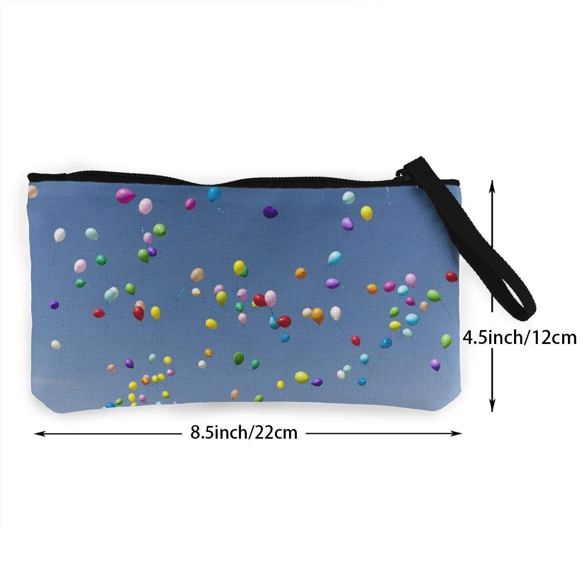 Canvas Cash Coin Purse,Blue Sky Balloon Print Make Up Bag Zipper Small Purse Wallets