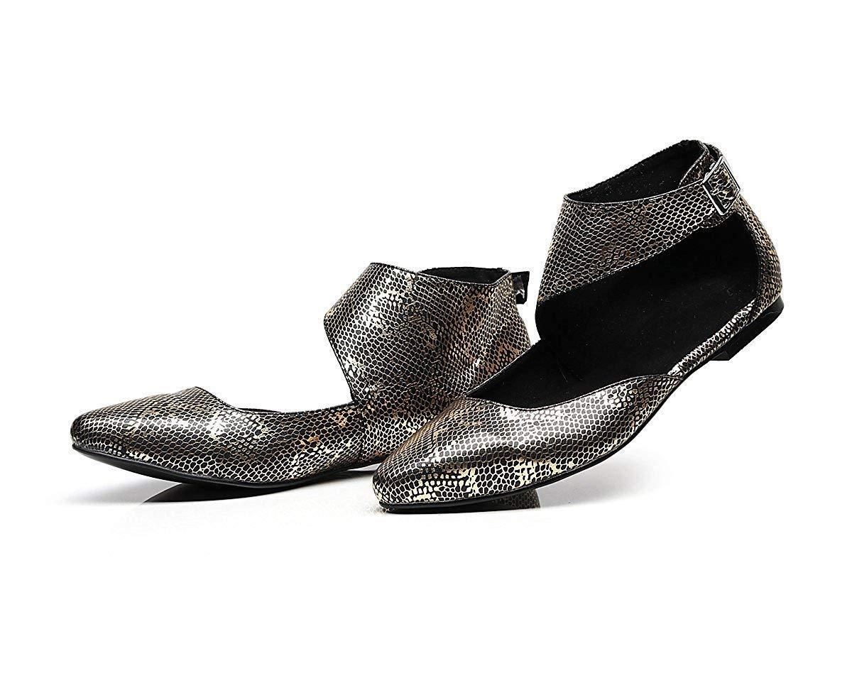 Damen Closed Toe Schnalle Leopard Tanz Knöchel Flats Abend Party Party Party Ballets (Farbe   Gold Größe   4.5 UK) b61c52