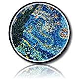 [2 Count Set] Custom and Unique (2.8'' Inch) Round Circle ''Cultural'' Impressionist Artistic Vincent Van Gogh Work Of Art Starry Night Sky Swirl Design Iron On Embroidered Applique Patch {Multicolor}