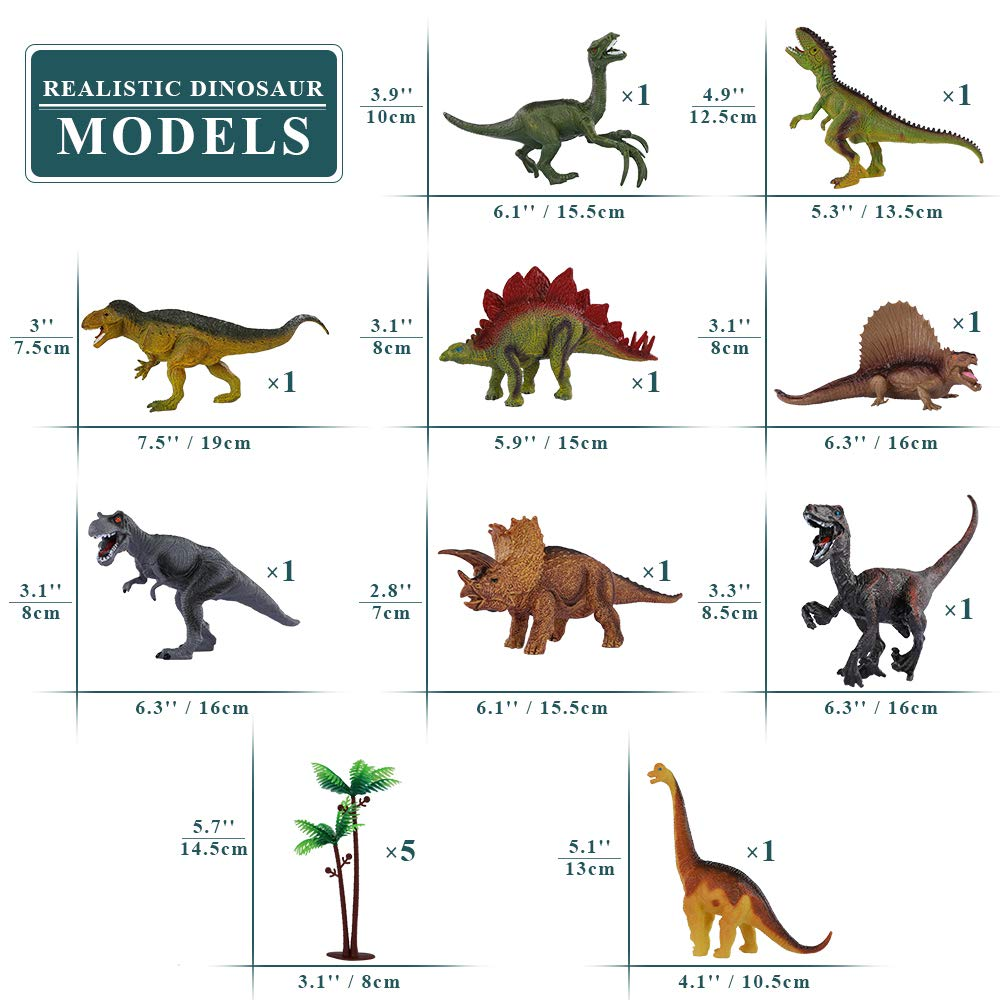 TEMI Dinosaur Toy Figure w/ Activity Play Mat & Trees, Educational Realistic Dinosaur Playset to Create a Dino World Including T-Rex, Triceratops, Velociraptor, Perfect Gifts for Kids, Boys & Girls by TEMI (Image #6)