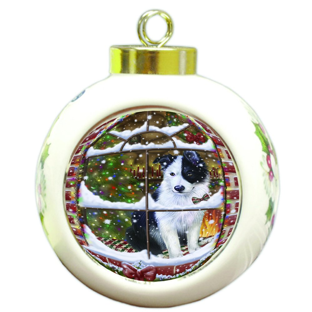 Please Come Home For Christmas Border Collie Dog Sitting In Window Round Ball Christmas Ornament RBPOR48380
