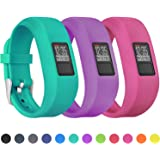 Mosstek Bands Compatible with Garmin Vivofit 3/jr/jr 2, Soft Silicone Replacement Sport Wristbands for Kids Girls Boys Women