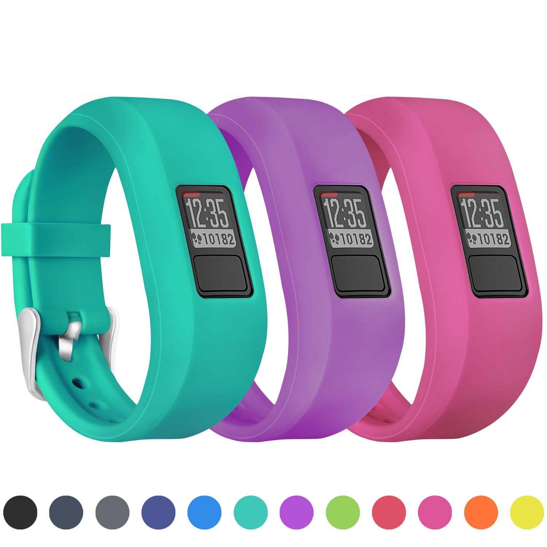 Mosstek Bands Compatible with Garmin Vivofit 3/jr/jr 2, Soft Silicone Replacement Sport Wristbands for Kids Girls Boys Women Men Small Large