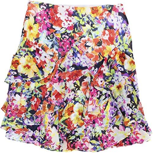 Floral Flounce Skirt - Lauren Ralph Lauren Womens Petites Floral Print Chiffon Flounce Skirt Multi 16