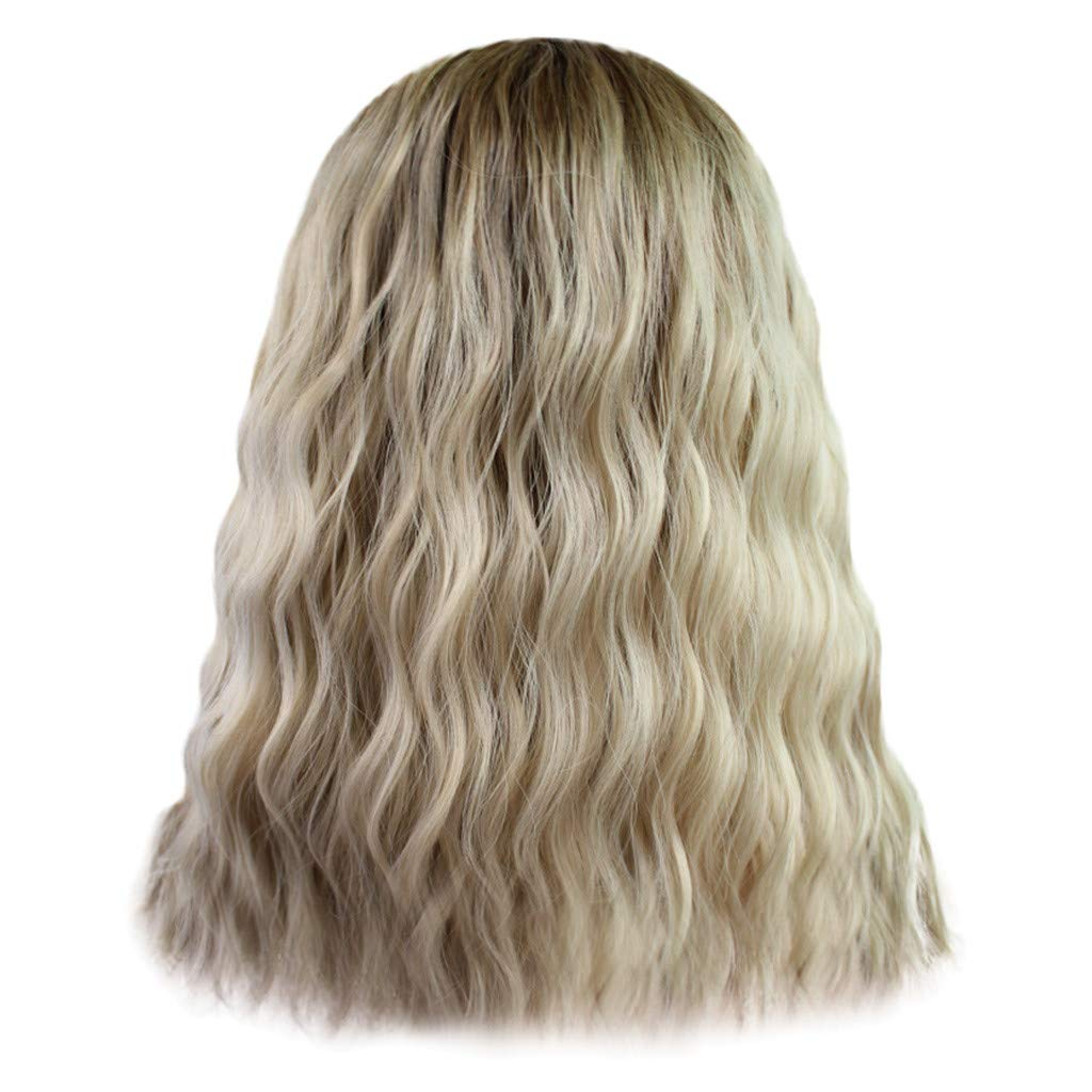 Wig,SUPPION Brazilian Less Lace Front Full Wig Long Wave Gold Natural Looking Women Fashion Wigs - Cosplay/Party/Costume/Carnival/Masquerade (A)