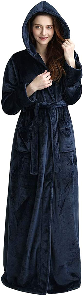 LOFIR Abito da Donna in Pile Invernale con Cappuccio per Donne Accappatoio Lungo Camicia da Notte Towelling Abito da Bagno Integrale Flanella Sleepwear