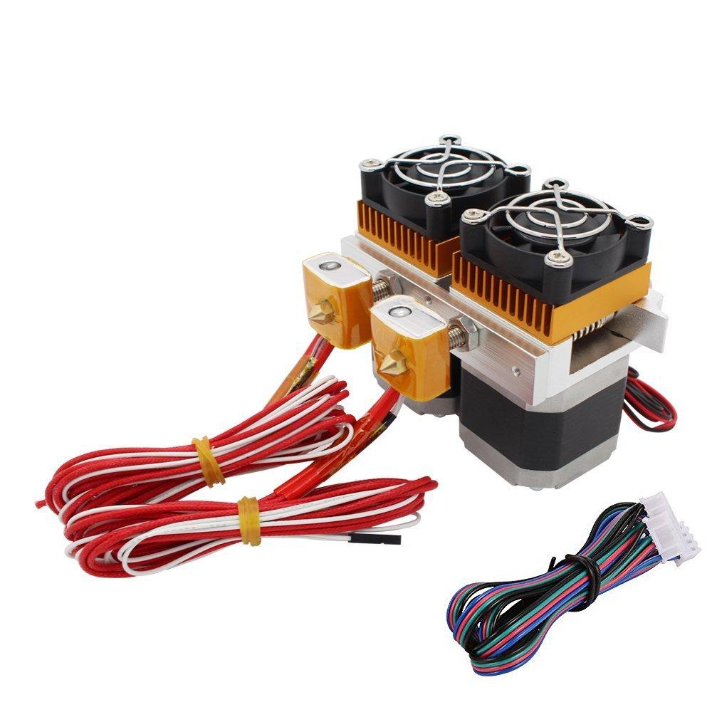 Redrex 0.4mm Doppel MK8 Extruder mit Nema 17 High Torque Schrittmotor fü r 3D-Drucker MakerBot Prusa i3