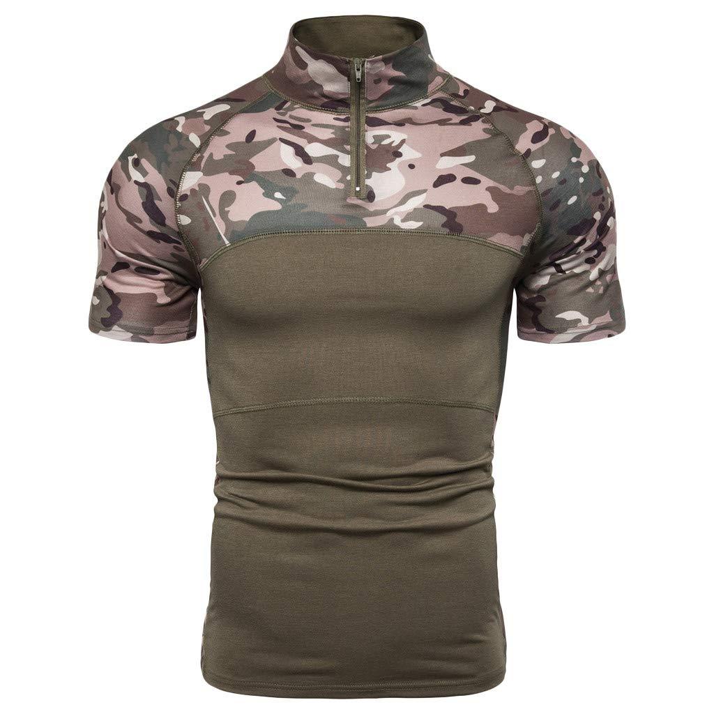 Giulot Mens Big and Tall Camo Outdoor Zipper Shirt Regular Fit Quick Dry Cotton T-Shirt for Running Jogging Gym by Giulot
