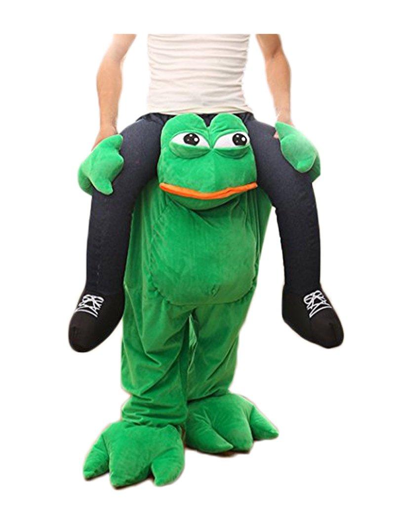 rushopn Piggy Back Frog Carry Me Sad Frog Mascot Costume Halloween Fancy Dress