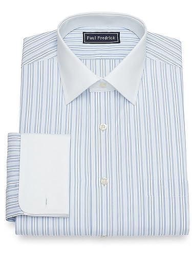 Edwardian Men's Shirts & Sweaters Paul Fredrick Mens Cotton Stripe French Cuff Dress Shirt $64.95 AT vintagedancer.com