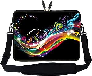 Meffort Inc 15 15.6 inch Neoprene Laptop Sleeve Bag Carrying Case with Hidden Handle and Adjustable Shoulder Strap - Rainbow Music Note