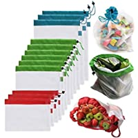 Reusable Mesh Produce Bags Washable Eco-Friendly Bags for Grocery Shopping Storage Fruit Vegetable Toys