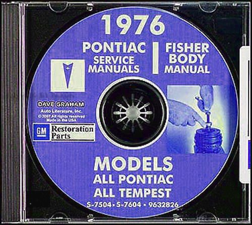 - COMPLETE & UNABRIDGED 1976 PONTIAC REPAIR SHOP & SERVICE MANUAL & FISHER BODY MANUAL CD - Bonneville, Catalina, Ventura, Grand Ville, Brougham, LeMans, Grand Prix, Grand Am, Astre, Sunbird, Firebird and Trans Am