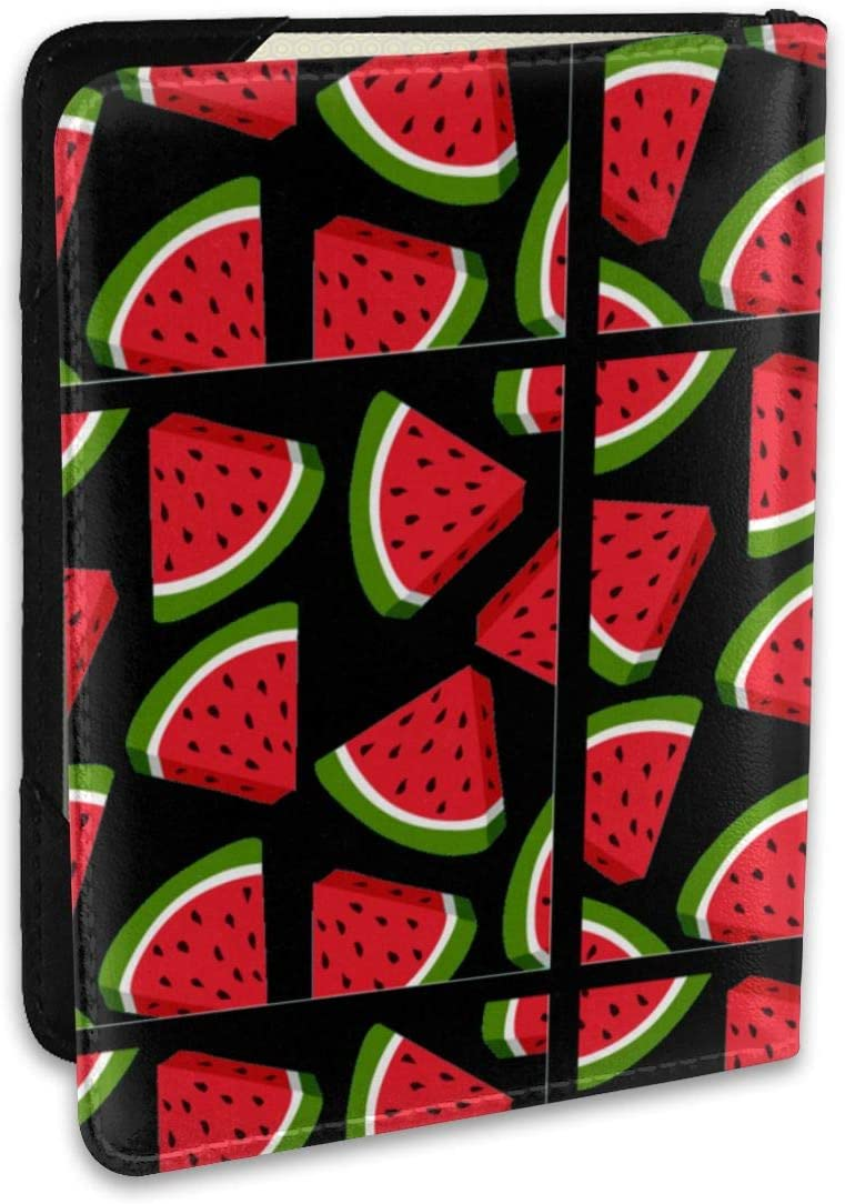 Cool Watermelon Pattern Fashion Leather Passport Holder Cover Case Travel Wallet 6.5 In
