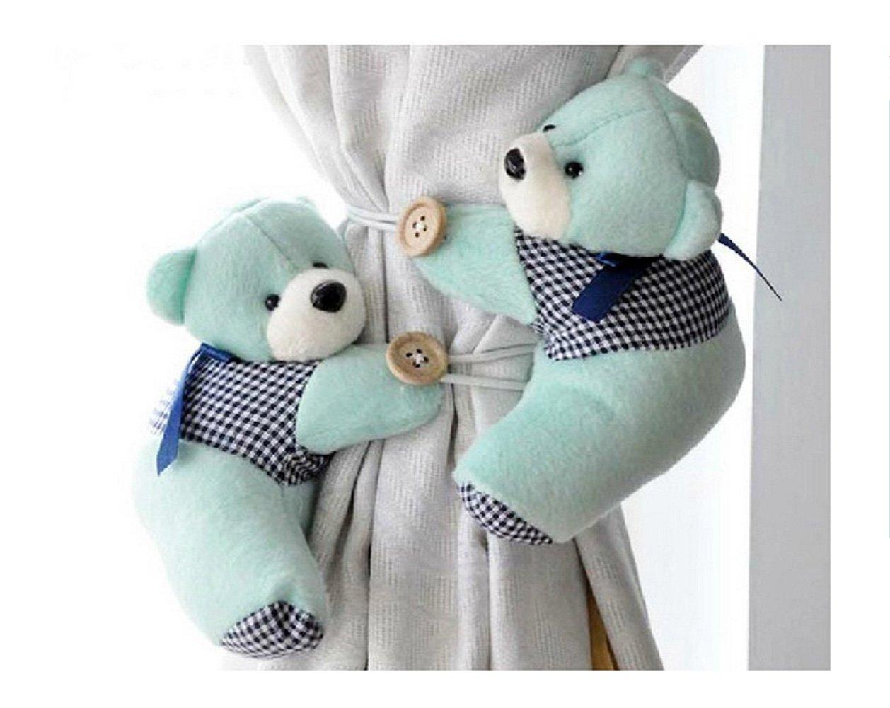 Honeya Free shiping A Pair of Kid Child Infant Nursery Bedroom Livingroom Curtain Tieback Animal Cute Cartoon Teddy Bear Decorative Window Curtain Hooks Clip Clasps Toy CH004