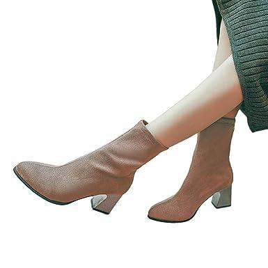 Geili Damen Stiefel Halbschaft Stiefel Damen Stiefeletten mit Blockabsatz Elegant 740ba4