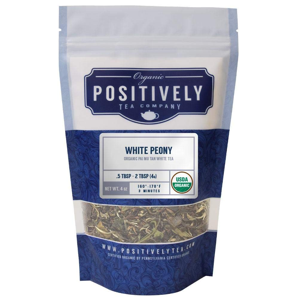 Positively Tea Company, Organic White Peony, White Tea, Loose Leaf, USDA Organic, 4 Ounce Bag by Organic Positively Tea Company