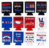 Beer Sleeve – 12-Pack Patriotic Can Covers Drink Holder with Insulated Covers, 12-Ounce Neoprene Coolers for Soda, Beer, Can Beverage, 12 American Themed Designs, 2.4 x 2.4 x 4 Inches