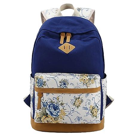 MCWTH Mochila Escolar de Ocio Ligera y Moderna Lona Floral Cartera Escolar Mochila Viajes Daypacks para
