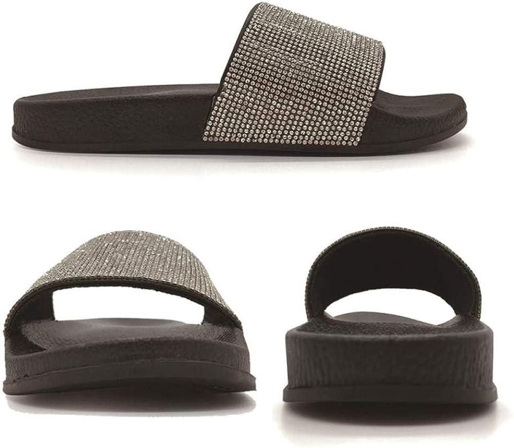 FUNKYMONKEY Womens Slides Rhinestone Glitter Slip On Footbed Platform Sandals