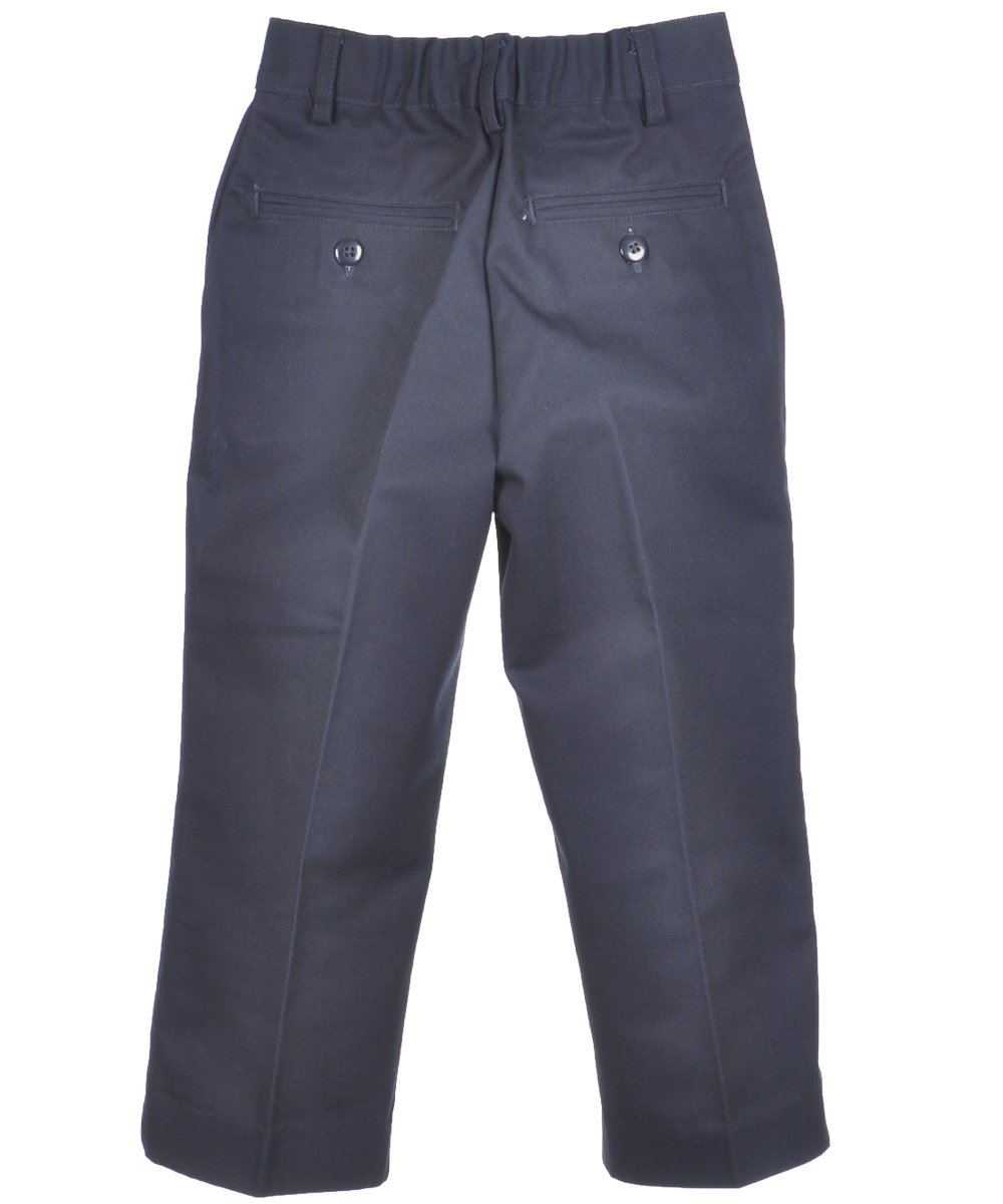 Boys Flat Front Pants w/ Double Knees + Hook and Eye Closure (2T-14) by Univ- Sku:Staniu647NAV5; Color:NAVY; Size:5 5