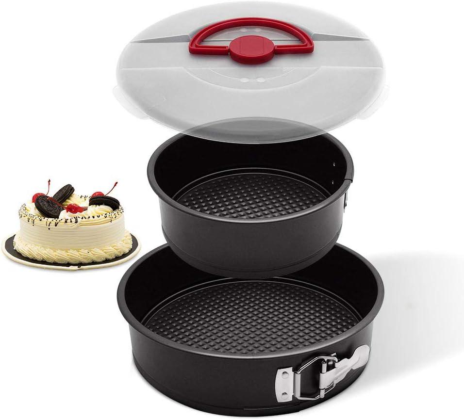 طقم علب الكعك من ويلتوب مع غطاء، 20.32 سم و 25.4 سم صينية كعك دائرية مقاومة للتسرب مع جزء سفلي قابل للإزالة، صينية سبرينج فورم سريعة التحرير، أسود