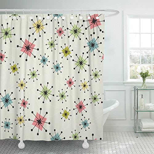 VaryHome Shower Curtain Vintage Atomic Stars Retro Pattern on of Boomerangs Items Are Grouped So You Them Independently From the Waterproof Polyester Fabric 72 x 72 inches Set with Hooks 61WIT1 2BkayL