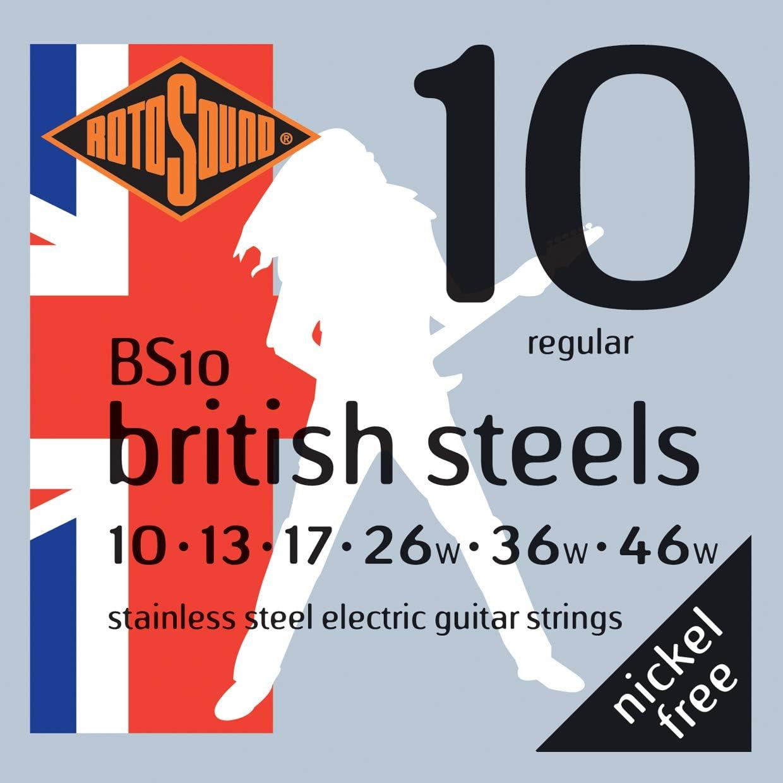 Rotosound BS10 - Juego de cuerdas para guitarra eléctrica de acero inoxidable, 10 13 17 26 36 46