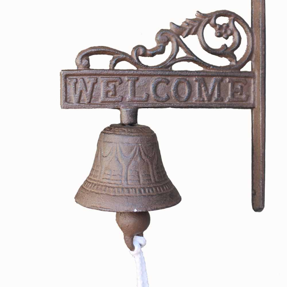 KiaoTime Vintage Rustic Cast Iron Welcome Sign Ring Bell Country Farmhouse Wall Decor Door Bell Antique Style Dinner Bell Decorative Welcome Wall Plaque Yard Sign