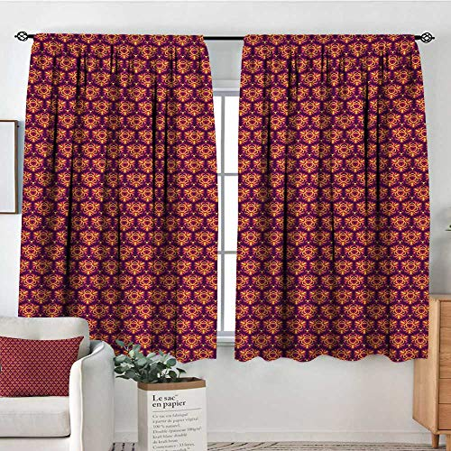 (Elliot Dorothy Sheer Curtains Modern,Symmetrical Motifs in Floral Style Old Fashioned Abstract Art Design,Dark Violet Magenta Yellow,Decor Collection Thermal/Room Darkening Window Curtains 42