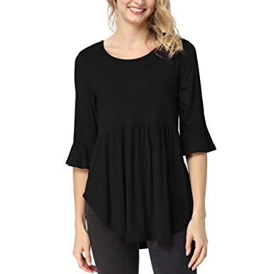 cabd9c1d227af5 HHei K Womens Summer Casual Solid T-Shirt Ruffle Half Sleeve Round Neck  Splice Tops Blouse