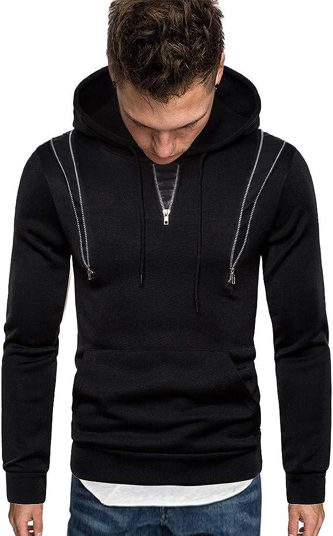 JAMZER Hot Sale Mens Full Zip Up Hoodies Winter Casual Print Pullover Slim Fit Cardigan Jacket Long Sleeve Blouse