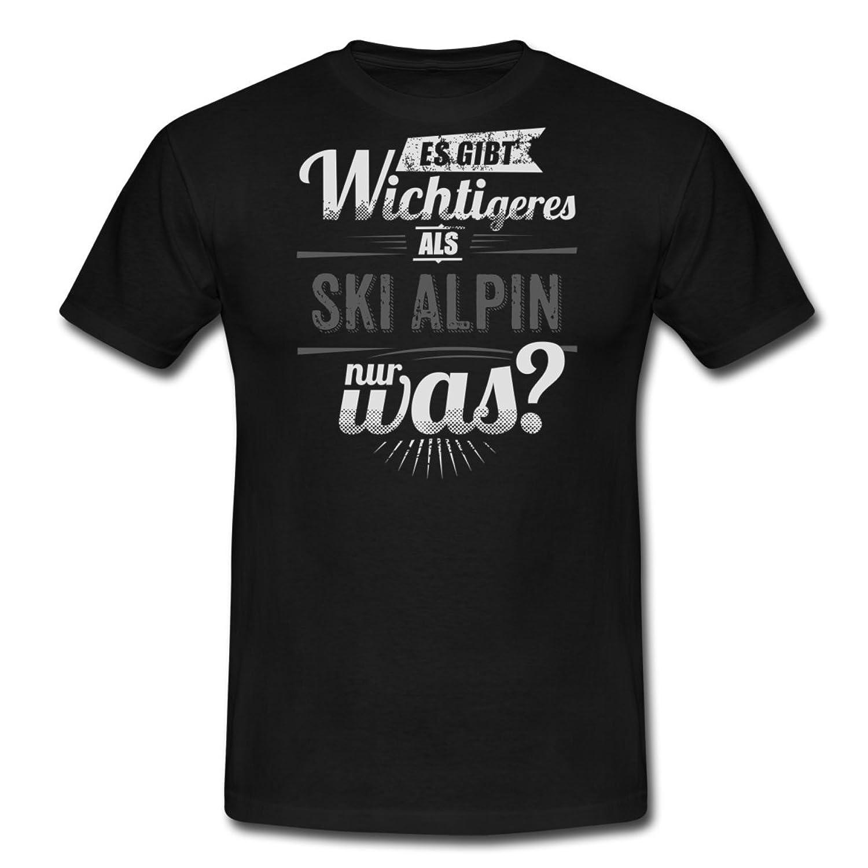 Es Gibt Wichtigeres Als Ski Alpin RAHMENLOS Schwarz Weiss Sport Motive Geschenk Männer T-Shirt von Spreadshirt®
