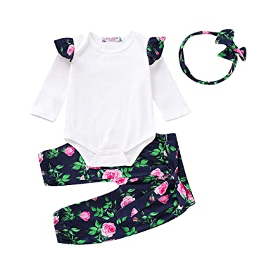 5a8355146da Image Unavailable. Image not available for. Color  3PCS Newborn Baby Girls  Tops Romper Floral Pants Headband Outfits Set Clothes