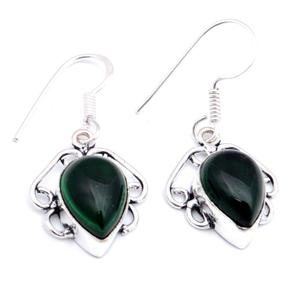 Handmade Jewelry Fantasy Chrome Diopside Quartz Sterling Silver Overlay Earring 1.5